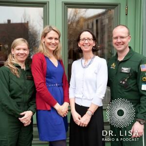 Melissa McCann, nurse on LifeFlight crew, Dr. Lisa Belisle of Love Maine Radio, K.C. Ford, patient, Frank McClellan, paramedic with LifeFlight