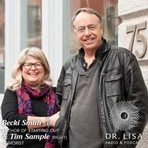 Becki Smith, executive producer and adjunct professor of writing, and Tim Sample, humorist and CBS correspondent