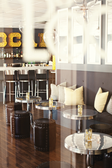 With its metal and yellow accents  the dining room at 50 Local is an  inviting and casual spot to enjoy a locally sourced  homemade meal Dine Around the Kennebunks   The Maine Mag. Porch Dining Room Kennebunkport. Home Design Ideas