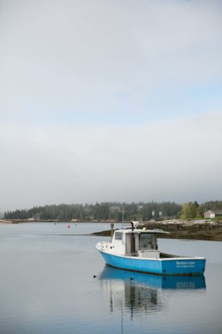 Lobster boat resting in Isle Au Haut
