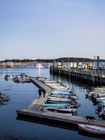 a view of Stonington harbor from the town wharf
