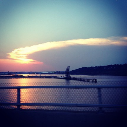 Casco Bay from Bridge at Sunset