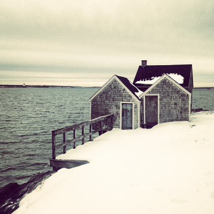 Shack in Snow at Willard Beach