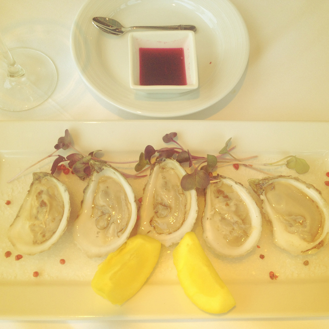 A plate of oysters at the Spruce Point Inn