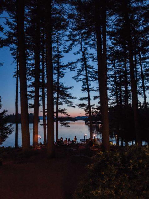 dusk on the shore of Sebago Lake