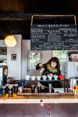 Coffee and scene at 44 North Coffee in downtown Stonington