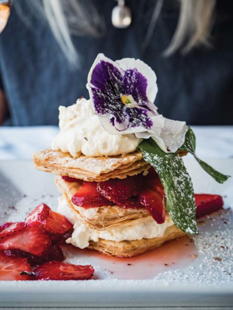 strawberry tart at Xanthus restaurant at the Claremont Hote