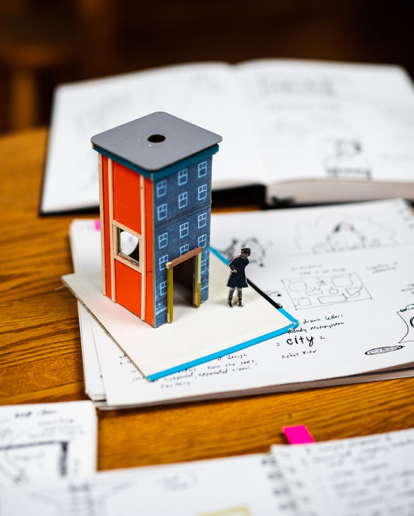 A tiny model of a building made by Rusty Lamar