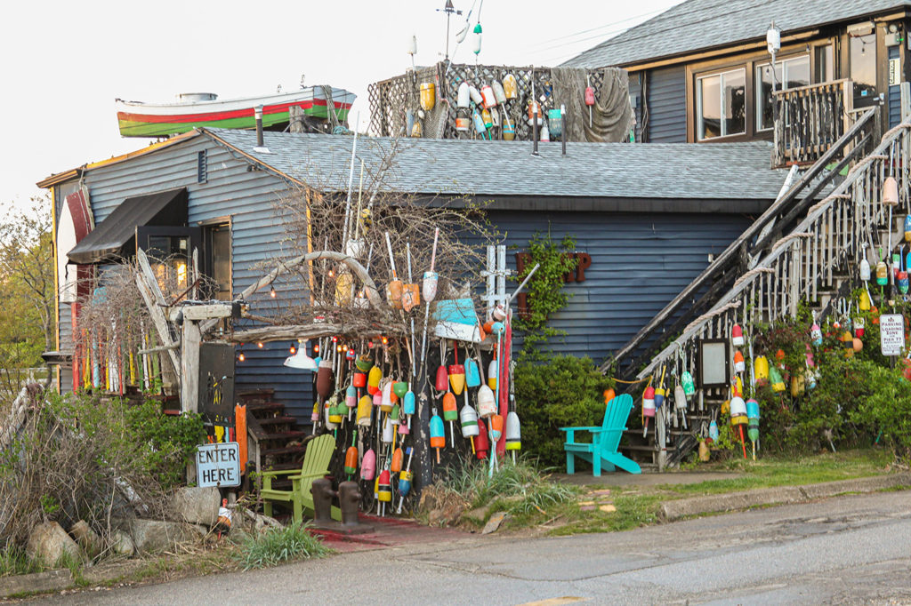 Buoys adorn a home in Kennebunkport