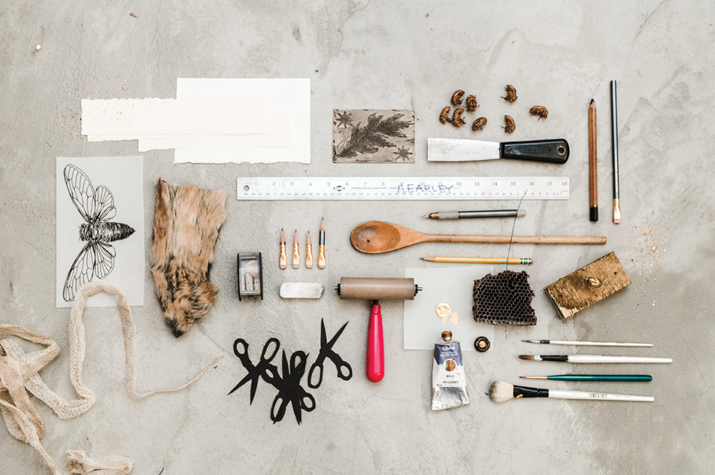 Annika Earley's tools laid out at Speedwell Projects