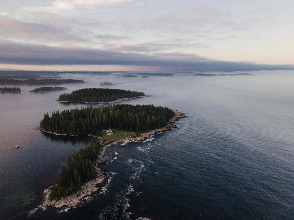An evening shot of the coastal islands surrounding Tenants Harbor, Maine.