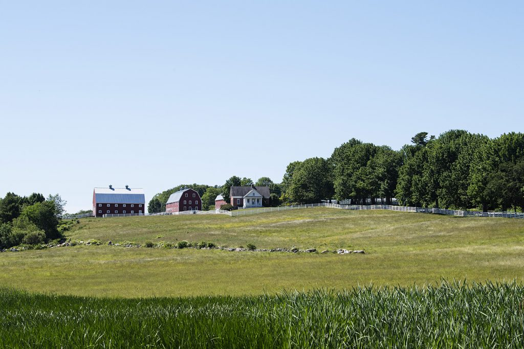 The iconic Hill Farm on Route 231 has withstood many iterations of Pineland Farms Maine
