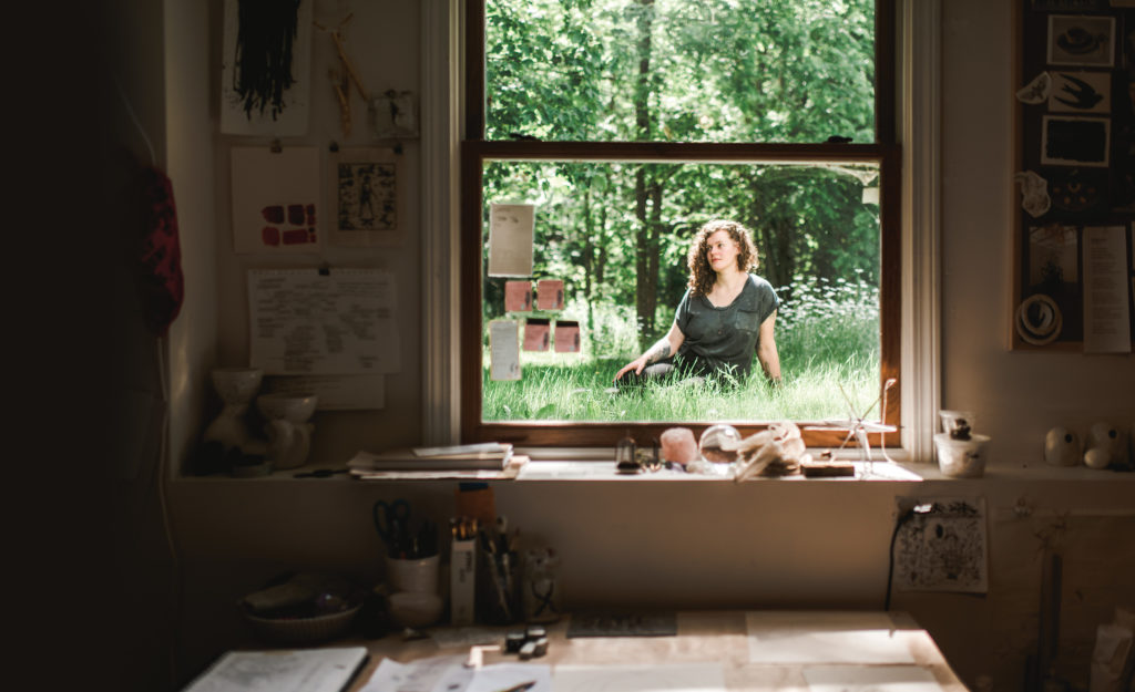 Annika Earley, often working at Speedwell Projects, is pictured here outside her rural studio in Durham.