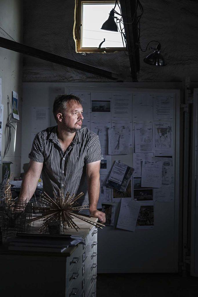 Aaron T. Stephan in his studio
