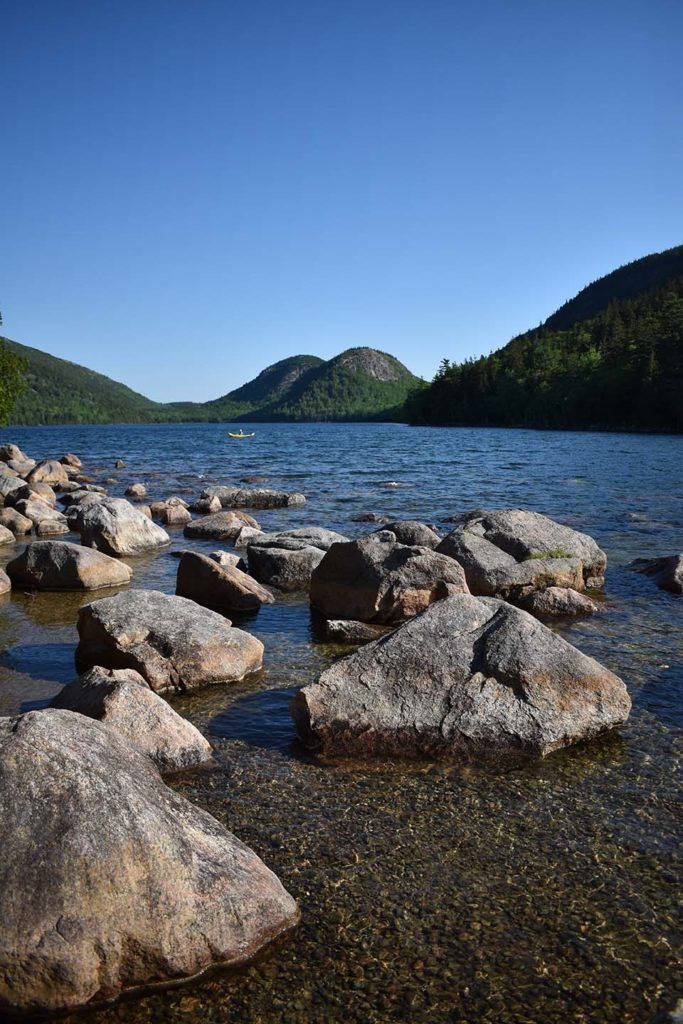 A classic view of Jordan Pond framed by the Bubbles of MDI.