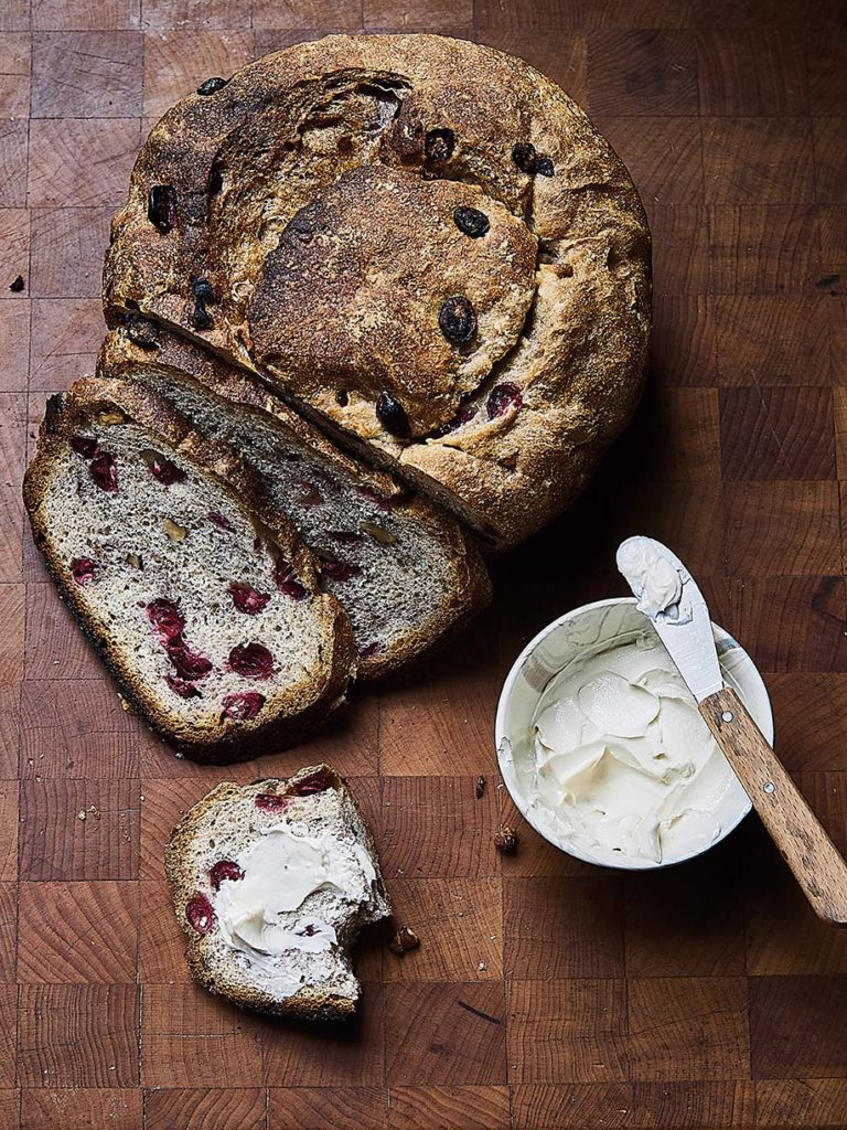 Cranberry walnut bread made with freshly picked Maine cranberries