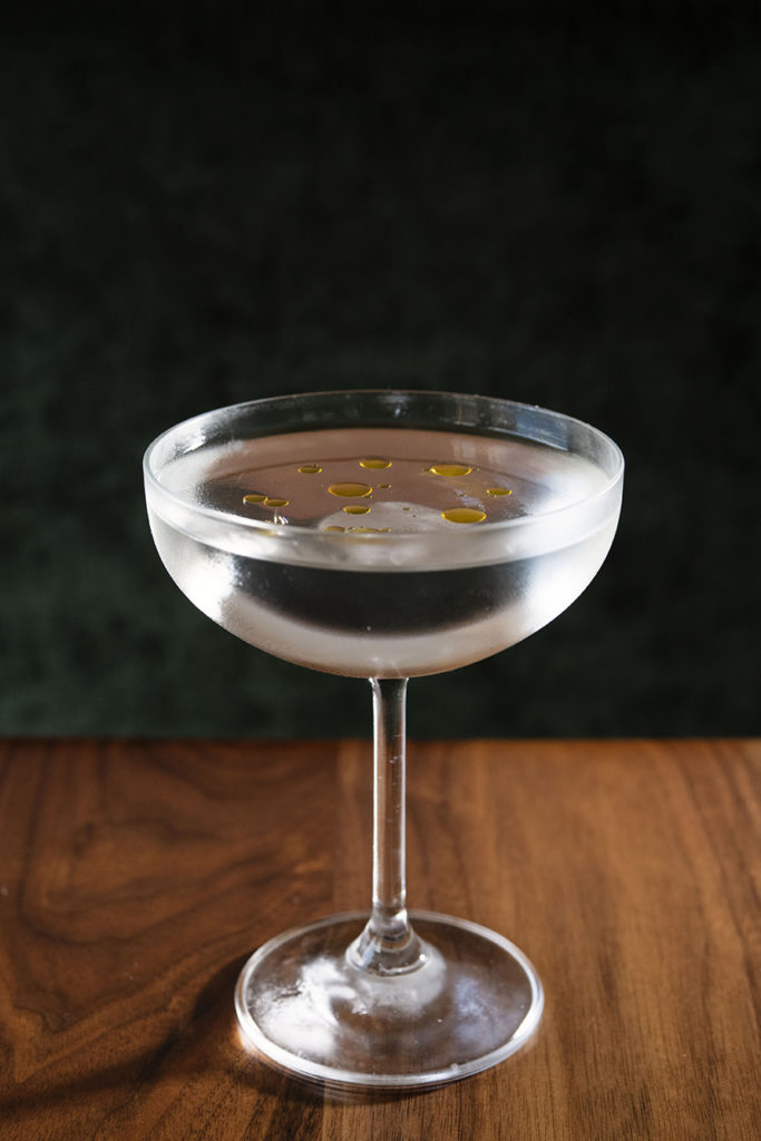 A gin martini at Magnus on Water comes dotted with oil made from ramps foraged last spring.